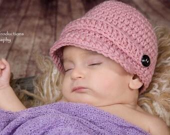 Baby Girl Newsboy, Baby Shower Gift, Newborn Photo Prop, Newborn Baby Hat, Baby Girl Gift, Crochet Baby Hat, Baby Girl Hat, Girl Newsboy Hat