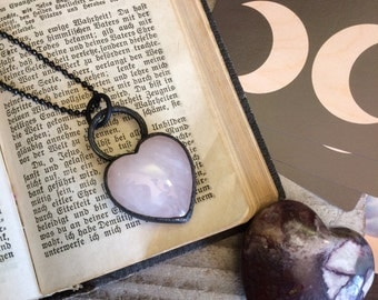 Rose Quartz Crystal Heart Necklace • Pink Heart Jewelry Healing Crystals Rose Quartz Heart Pendant Valentines Day Gift For Her Heart Shaped