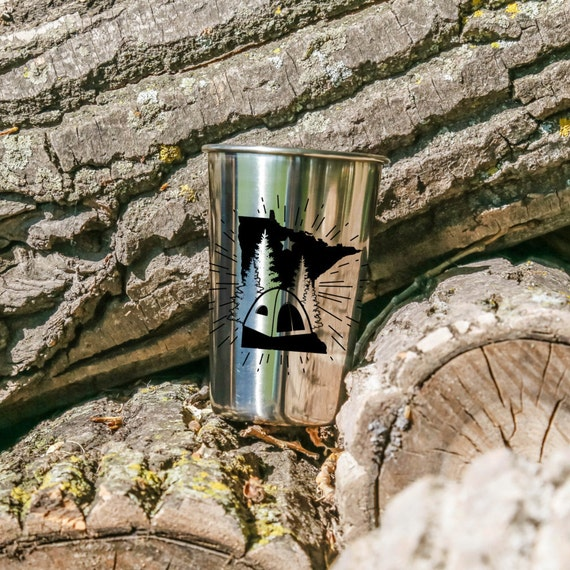 MN Camping | Tent | Camper | Cabin | Stainless Steel Tumbler | 18 oz. | Outdoor Drinkware