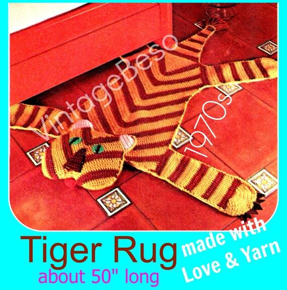 Rug Crochet PATTERN Vintage 1970s TIGER Crochet By VintageBeso