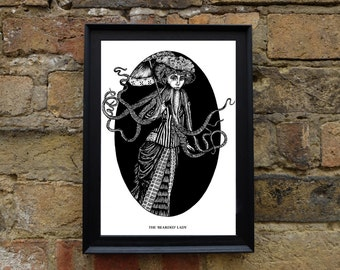 The Bearded Lady - A4 Illustrated surreal Print