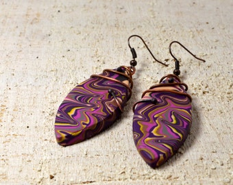 Earrings polymer clay violet drop earrings polymer clay jewelry dangle earrings copper hook FIMO Boho Chic Bohemian gift for her camouflage