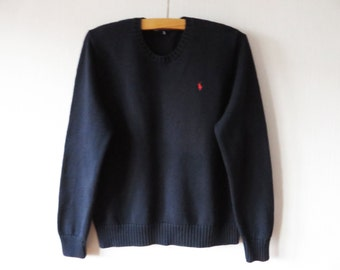 RALPH LAUREN Knit Sweater Navy Blue Polo Golf Crewneck Pullover Ralph Lauren Golf Jumper Elbow Patches Knitted Cotton Sweater Size XL Tg
