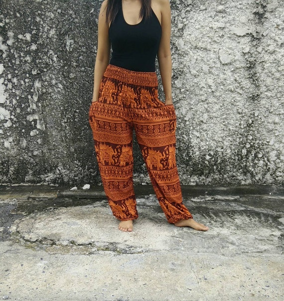 Orange Elephants Yoga Pants Hippie Boho Print Hippies Style