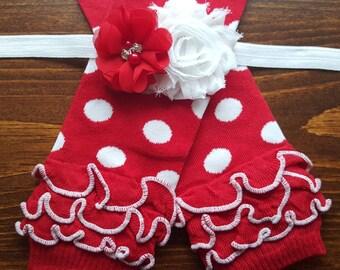 SALE Red and White Polka Dot Leg Warmers w/ Matching Rhinestone Headband