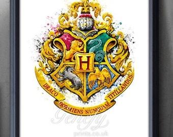 Harry Potter Hogwarts Crest Watercolor Art Poster Print - Wall Decor - Watercolor Painting - Watercolor Art - Kids Decor - Nursery Decor