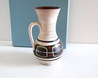 Mid Century Ceramic Vase - Vintage 50s GERMANY White Pottery Pot or Jug with Handle and Black, Red and Yellow Geometric Decor