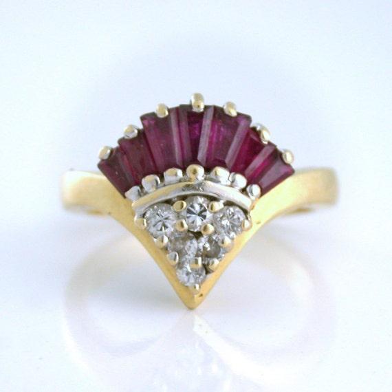 Vintage Ruby and .24tcw Diamond Fan Ring circa 1941, 14k gold - Layaway