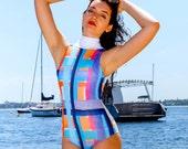Retro Print One Piece Swimsuit // High Neck Swimsuit // Vintage Style bathing Suit // Women's Swimwear // 1950's Swimsuit -Koha
