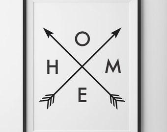 Black and White Home Arrow Print, Arrow Black and White Print, Home Print, Minimal Arrow Home Type, Home Print Arrows Digital Print