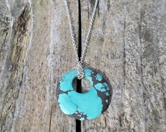 Turquoise Matrix Donut on Sterling Silver Chain Necklace
