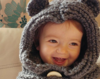 Bear Hat, Bear Hood, Bear Cowl, Hooded Cowls, sizes 3 months to Adult!! Custom colours avail. Hand Knitted To Order..with or without ears!!