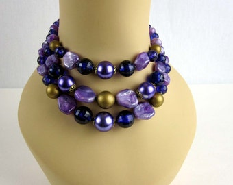 Purple Bead Three Strand Necklace,  Vintage Plastic Bead Choker, Signed Germany