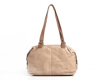 beige bag - beige leather shoulder bag - beige evening bag - evening handbag - beige leather purse - shoulder handbags - ROSE MS7010 - Beige