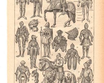 "Vintage ""Armor"" 1930's French dictionary illustration / Digital download"