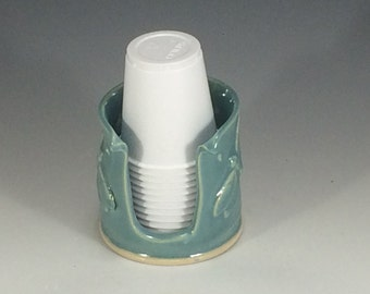 Dragonfly Turquoise Bathroom Cup Holder (3 Ounce) - Turquoise Cup Holder - Pottery Bathroom Cup Holder - Cup Holder