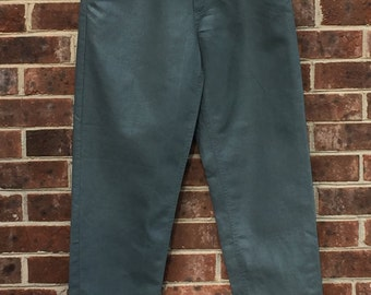 vintage high-waisted linen and cotton greenish gray pants
