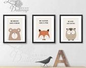 SET OF 3 Nursery Print, Nursery Decor, Forest Animals, Wild Animals. Watercolor Animals, Nursery painting, Animal painting, baby room decor