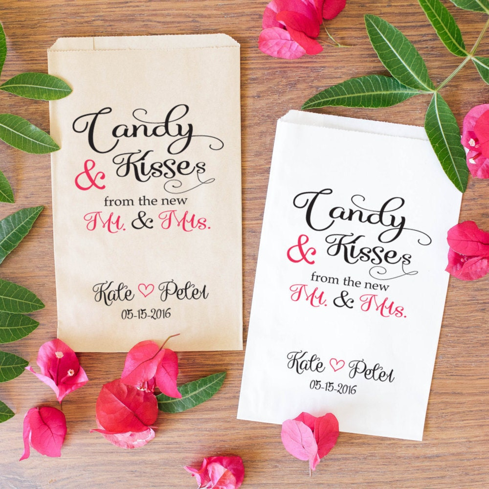 Candy Bags For Wedding: Wedding Candy Favor Bags Personalized Treat Bags Hershey