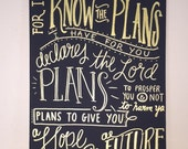 "Canvas Painting Quote ""For I Know the Plans I Have for You Declares The Lord"" Jeremiah 29:11 Handmade Wall Art Dorm Home Decor Little Girl"