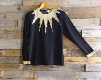 Vintage Glam Sweater By Outlander Size L Gold Sequin Starburst Accent Acrylic-Wool Made in Hong Kong Free US Standard Shipping