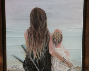 Mother and Daughter - Print of Original Painting