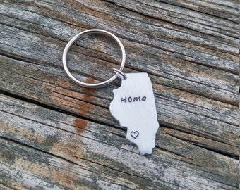 Personalized Illinois Keychain | IL Keychain | Personalized Keychain | Custom Keychain | State Keychain | Custom State Keychain