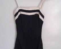 Vintage 1970's Black White One Piece Swimsuit Boy Cut Ruching on Sides Sz Small Pin Up Mod Minimalist