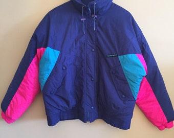 1990 Sun Ice Vintage Neon Ski Jacket. Hip Hop. Rap. Colorblock.