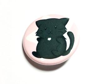 Black cat button, 1.25 badge, pinback button, pin