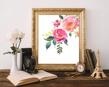 Pink flowers print, Floral wall art, Shabby Chic Home Decor, Printable flowers, Watercolor flowers print, Flowers poster, Pink wall decor
