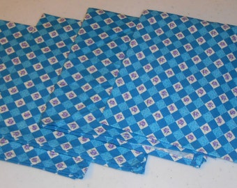 Blue Squares/Lavender Roses Handmade Cotton Napkins (4)