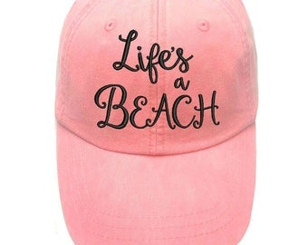 Coral Lifes a Beach Embroidered cap - Lifes a beach Hat - Beach Hat - Cute baseball cap - Lifes a beach quote - beach cap - Lifes a beach