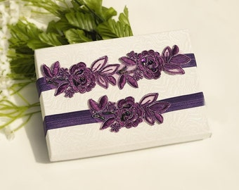 Purple  Beaded Lace Wedding Garter Set , Embroidery  Garter Set, Toss Garter , Keepsake Garter ,Customizable Handmade-GT038