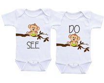 Matching Twin Onesies Twin baby gifts for baby girl and/or baby boy twins twin outfits,twin baby shirts,twin baby clothes,twin bodysuits