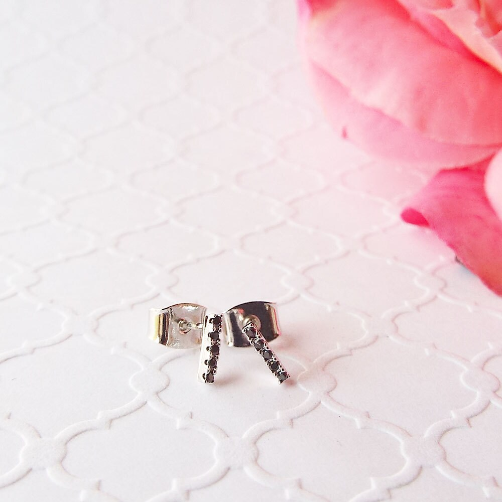 Black diamond White gold Bar studs black CZ stones micro pave black Diamond white gold plated Earring Black Diamond Everyday Bar Earrings