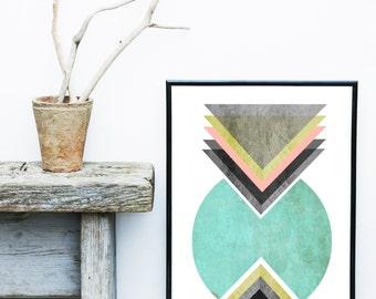 Scandinavian Design,  Printable Art,  Nordic Design, Geometric Print, Wall Art Prints,  Blue Decor, Modern Art, Wall Decor, Digital Download