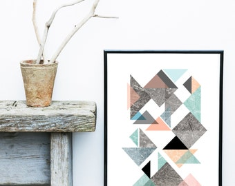 Scandinavian Modern, Printable Wall Art, Textured Art, Triangle Print, Geometric Print, Home Decor, Wall Decor, Wall Art, Digital Download