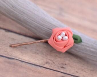 Kanzashi bobby pin, Flower bobby pin,  Kanzashi pin , Flower hair pin, Rose bobby pin, handmade   bobby pin, tsumami Kanzashi, gift, Coral