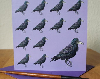Rook Card, Square Blank Corvid Greetings Card, Crow, Bird, Ideal Birthday Card, Anniversary, Thank You, Notecard