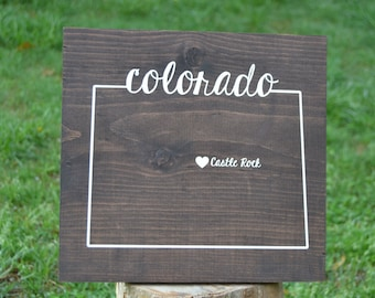 Colorado Sign - Custom Colorado Sign - Wedding Gift - Housewarming Gift - Wedding Guestbook - Wedding Gifts - Custom State Signs