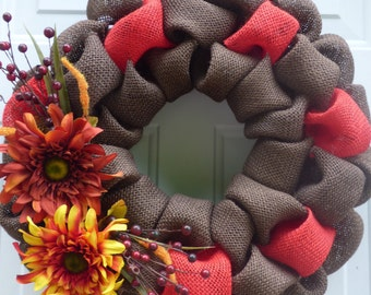 Fall Burlap Wreath/Fall Wreaths for Front DoorFall Door Wreath/Autumn Wreath/Fall Wreath/Wreath for Fall/Fall Door Decor/Thanksgiving Wreath
