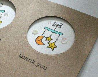 Pack of 10 - Baby Gift Thank You Cards Baby Shower Thank You Cards Baby Shower Cards Baby Thank You Cards Cute Cards Baby Shower Cards