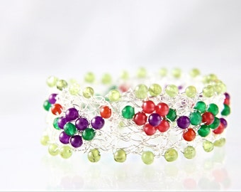 Colorful red, green, and purple natural gemstone floral wire crochet sterling silver bracelet, embroidered flower pattern