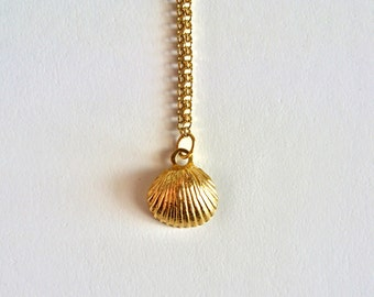 Tiny Gold Seashell necklace // Sea Shell Charm Necklace // 14K gold vermeil necklace // Small Clam Shell necklace // Beach Wedding Necklace