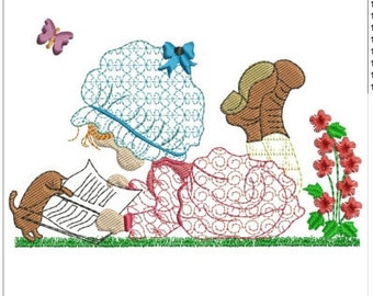 "SWEET holly hobbie machine embroidery download 5 DIFF SIZES( 4X4"" 5X4"" 6X4"" 7X5"" 8X5"")"