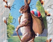 Vintage Adorable Easter Bunny Rabbit Carring Many Colorful Eggs Easter Postcard Fab Card Holiday Greeting antique Postcard Download