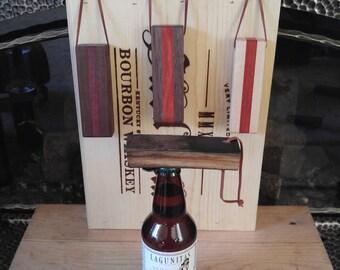 Bottle Opener.  Rustic.   Whiskey Barrel.  Bourbon Barrel.  Engraved Opener.  Personalized Bottle Opener