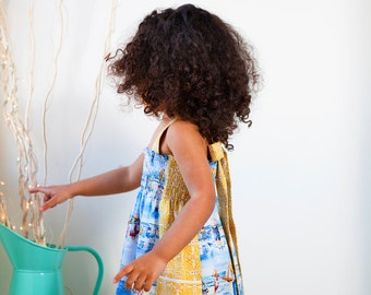 Shirred Sundress Cotton Dress Girl's Dress Summer Dress 3-4 years
