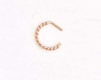 Gold Nose Hoop - Gold Nose Ring - 14k Gold - Rose Gold Nose Hoop - Rose Gold Nose Ring - Gold Body Jewelry - 14k Rose Gold - Nose Ring